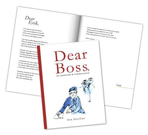 Front and inside of the book Dear Boss,