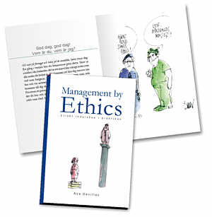 Front and inside of the book Management by Ethics